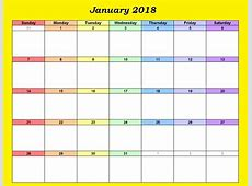 January 2018 Wall Calendar Printable Calendar 2018