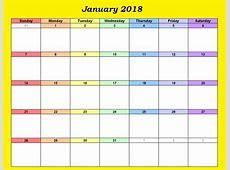 January 2018 Calendar Excel Template Calendar 2018