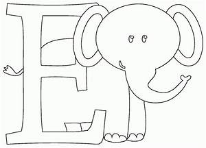 E is for elephant coloring page coloringcom for Elephant template for preschool