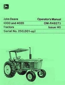 John Deere Model 4000 And 4020 Tractor Operators Manual Sn