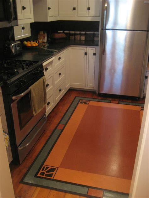 linoleum flooring kitchen linoleum rug in craftsman kitchen traditional kitchen los angeles by crogan inlay floors