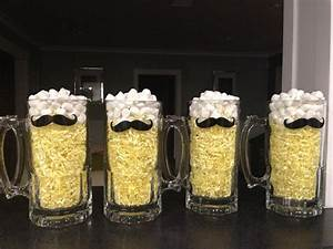 Mustache beer mug centerpiece Baby ideas Pinterest Father's day, Mini marshmallows and Mesas