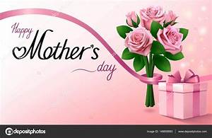 Dia das mães feliz. Caixa de presente e buquê de rosas cor ...