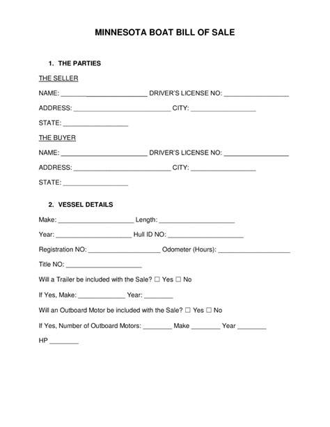 Boat Bill Of Sale Mn free minnesota boat bill of sale form word pdf