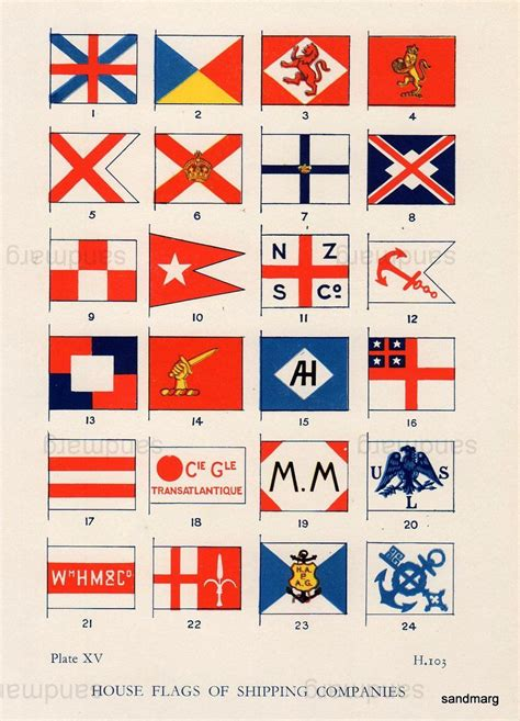 Boat Flags Chart by Vintage Chart Of House Flags Of Shipping Companies