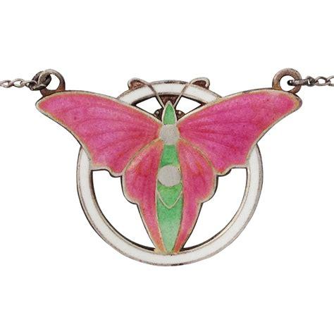deco butterfly enamel sterling silver necklace