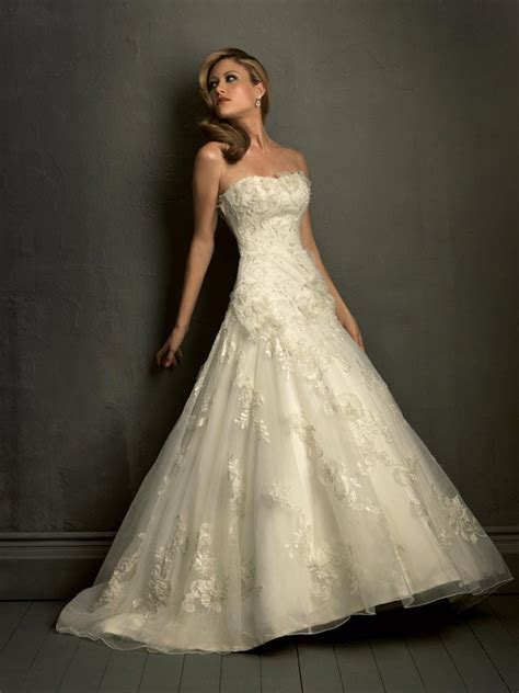 ivory strapless lace empire waist formal wedding dress prlog - Dresses For Formal Wedding