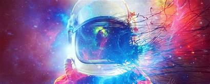 Cosmonaut Space Multicolored Suit Ultrawide Monitor