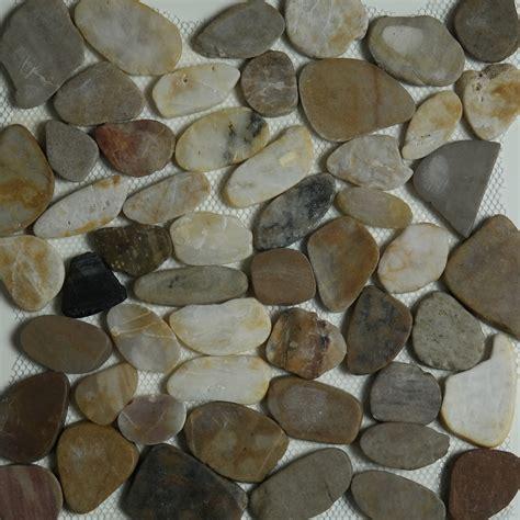 mixed color sliced pebble mosaic tile