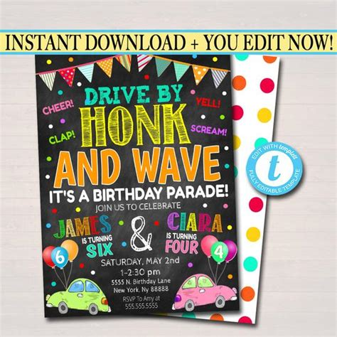 Drive By Birthday Parade Invitation Virtual Dual Birthday
