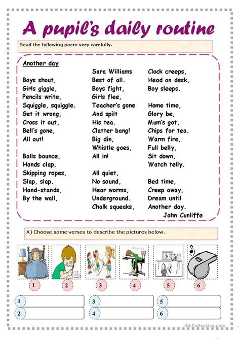pupils daily routine worksheet  esl printable