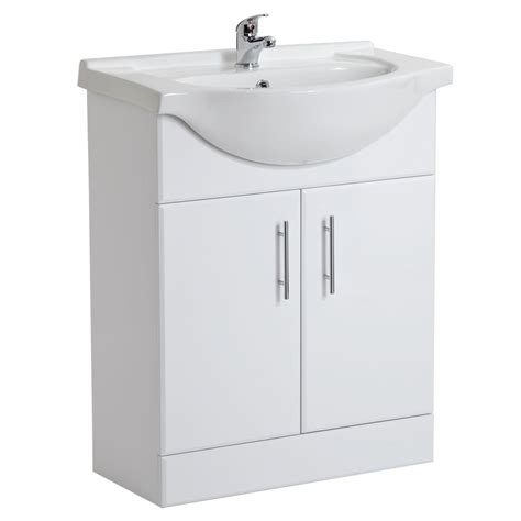 White Gloss Bathroom Vanity Unit Basin Sink Cabinet