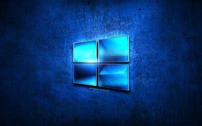 herunterladen hintergrundbild windows  blau metall logo