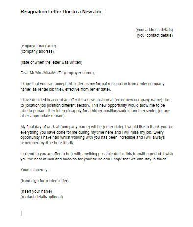 resignation letter due    job sample  letter