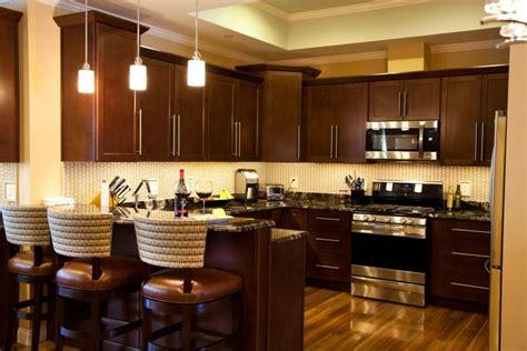 cute dark brown color mahogany wood kitchen cabinets