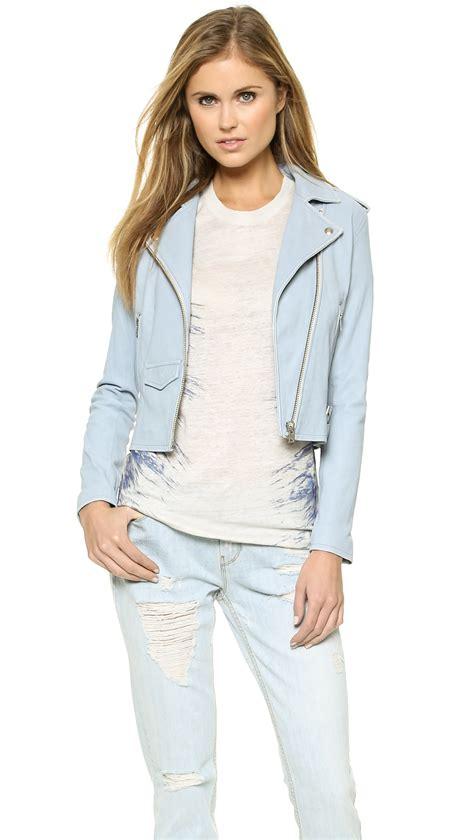 light blue leather jacket womens iro ashville leather jacket light blue in blue lyst