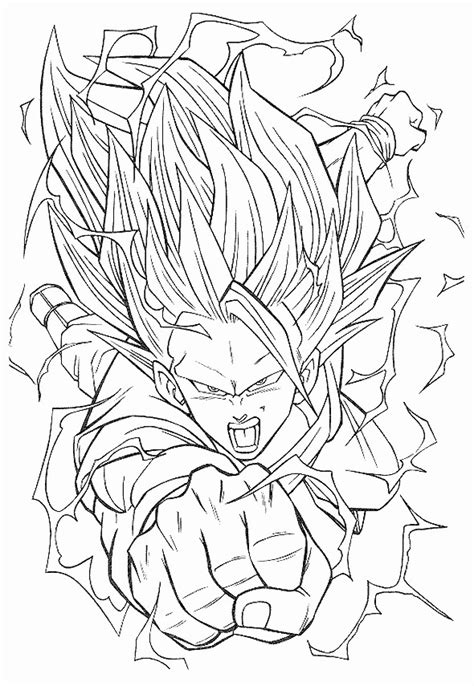 Coloriage Dragon Ball Z Songoku dessin gratuit à imprimer