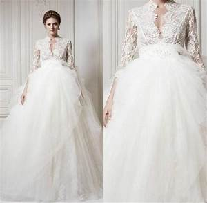 2015 wedding dresses with 3 4 long sleeve lace 2015 sheer for Long sleeve v neck wedding dress
