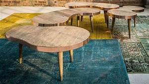 Table Basse Bois Brut : table basse style vintage en forme de haricot r alis e en ~ Melissatoandfro.com Idées de Décoration