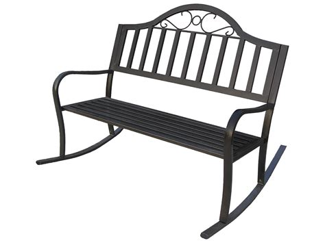 oakland living rochester wrought iron rocking bench with