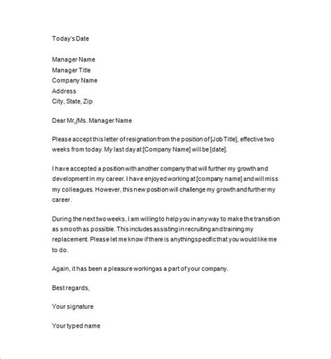2 Weeks Notice Template Letter Of Resignation Template 2 Weeks Notice Choice Image