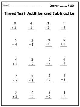 math facts fluency kindergarten addition  subtraction