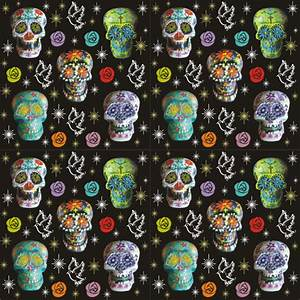 Colorful Sugar Skulls with Starbursts, Doves & Roses ...