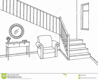 Stairs Hallway Sketch Interior Clipart Graphic Hall
