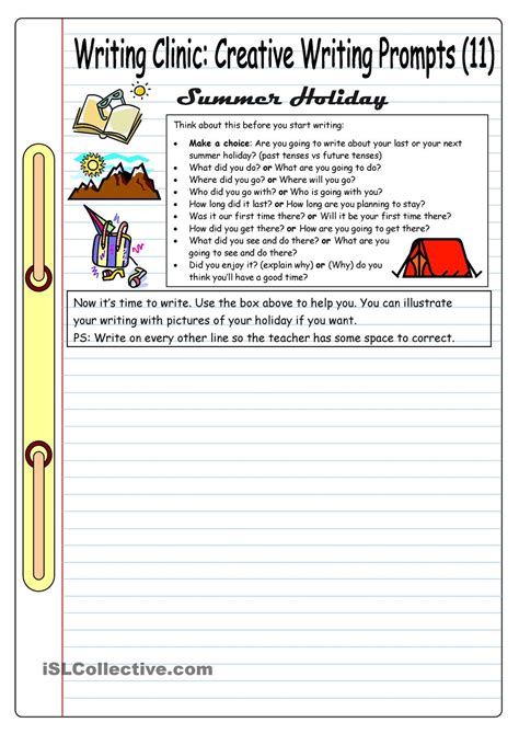 worksheets for creative writing in writing clinic creative writing prompts 11 summer