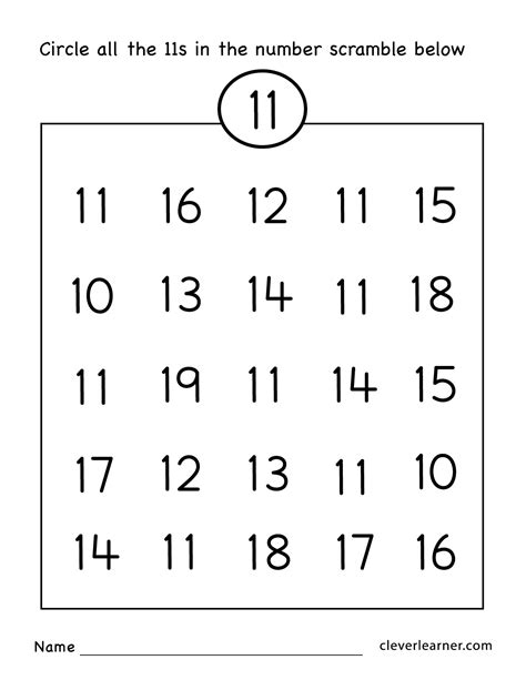 number eleven writing counting and identification 787 | Number 11 preschool worksheets 05