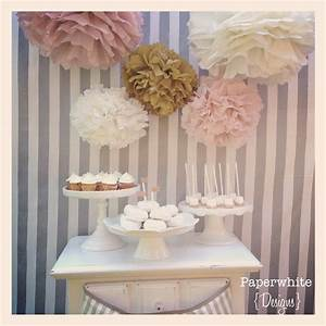 Melanie Collection- 5 pom poms- blush and gold tones