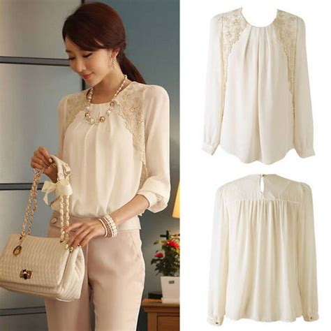 Fashion Women Chiffon Long Sleeve Business Blouse Tops