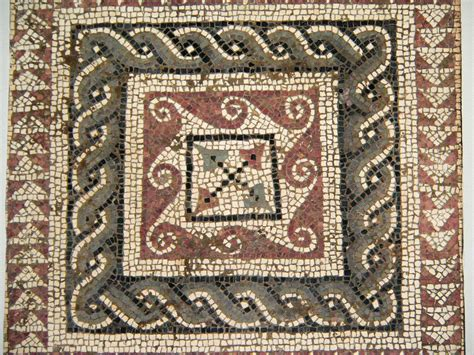 Roman Mosaic Square From A Larger Pattern Of Geometric
