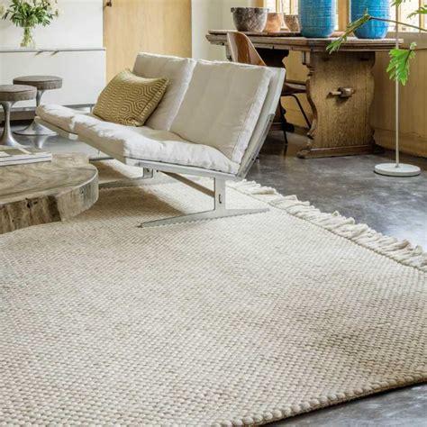 tapis moderne beige avec franges en et viscose