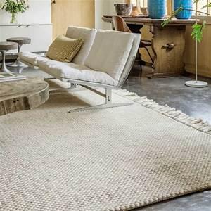 tapis moderne beige avec franges en laine et viscose With tapis exterieur avec plaid lin canapé