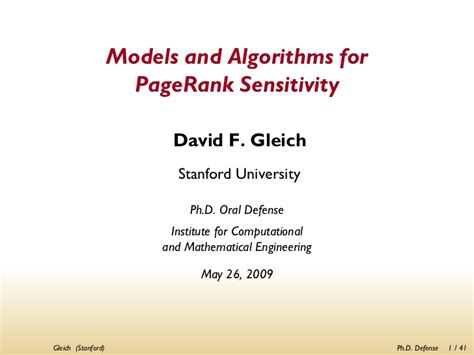 phd defense models  algorithms  pagerank sensitivity