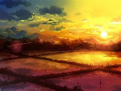 Fantasy Sunrise Sunset Drawing Rice Paintings Sky