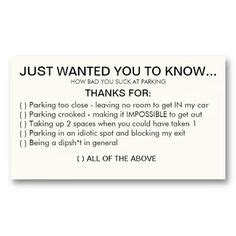 printable bad parking cards funny instant