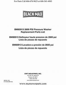 Bm80913 2600 Psi Pressure Washer Replacement Parts List