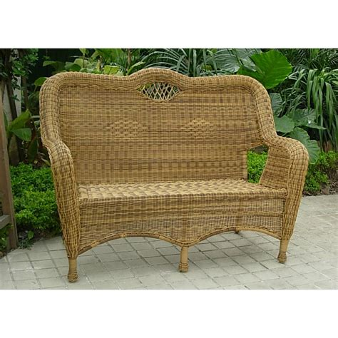 Outdoor Wicker Settee by Chicago Wicker 174 All Weather Wicker Settee