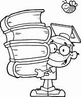 Graduation Coloring Pages Genius Cap Kid Diploma Printable Drawing Boy Graduating Books Drawings Colorluna Sheets Sketch Studying Getdrawings Flag Getcolorings sketch template
