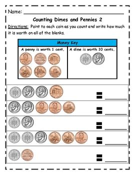 beginning simple counting money worksheets using new