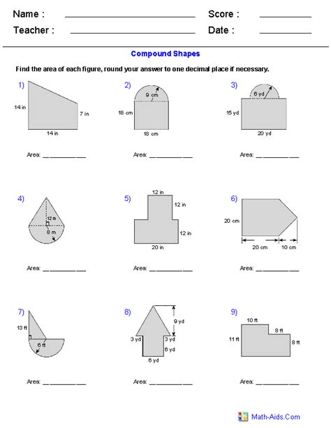 area of compound shapes adding regions worksheets math