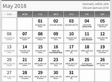 May 2018 hindu calendar with tithi for Vaishakh Adhik jeth