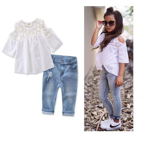 toddler denim vest 2pcs toddler baby lace t shirt tops denim