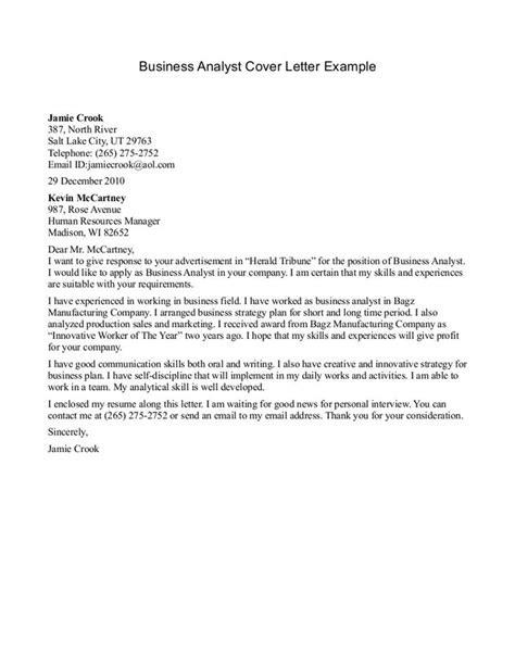 business analyst cover letter business analyst