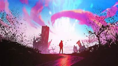 Sunset Fantasy Artwork Sheep Suicide Fortress Wallpapers