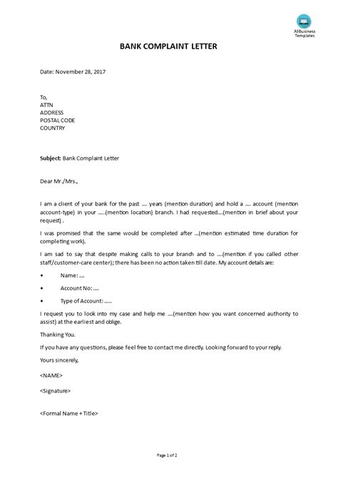 Bank Complaint Letter | Templates at allbusinesstemplates.com