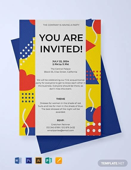 email party invitation template word psd