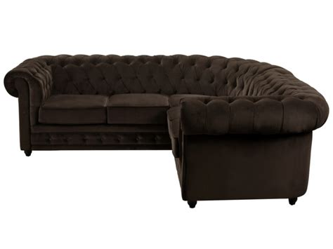 canap 233 d angle en velours chesterfield chocolat